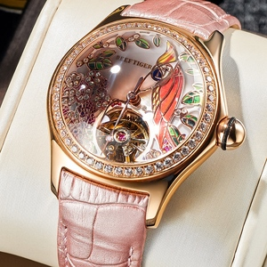 Image 1 - 2020 Reef Tiger/RT Womens Luxury Fashion Watches Diamond Automatic Tourbillon Watch Leather Strap Watch Relogio Feminino RGA7105