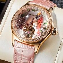 Récif Tiger/RT – montre de luxe pour femmes, diamant, Tourbillon automatique, bracelet en cuir, à la mode, RGA7105, 2021