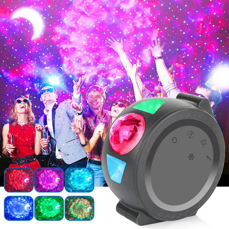 2020 Starry Sky Projector Galaxy Projector Lamp LED 6 Colors Ocean Waving Lights 360 Degree Rotation Night Light Lamp For Kids