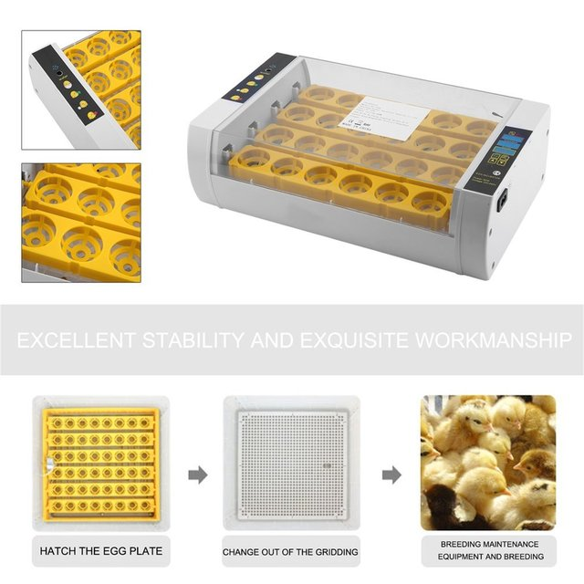 Fast Shipping Practical 24 Eggs Large Capacity Mini Incubator For Chicken Poultry Quail Eggs Home Use Automatic Egg Turning 3