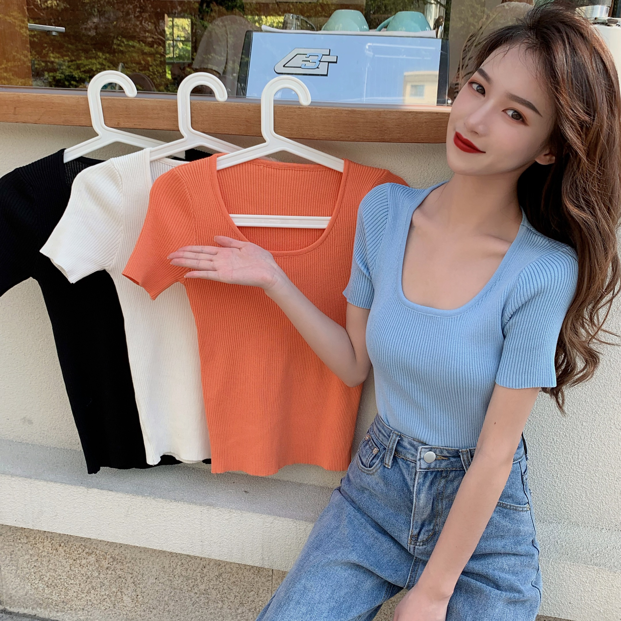 Solid Square Collar Stretchy Knitted Cropped T-shirt New Female Short Sleeve Simple Slim Tshirts Tops For Girls 2020 Summer