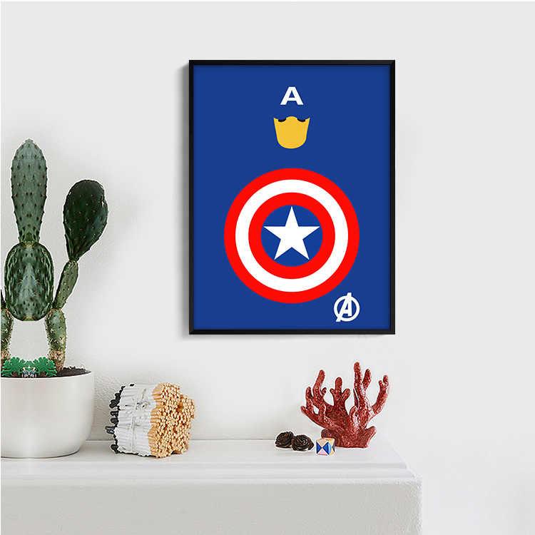 Capitão da américa cartaz bonito do berçário criança roon pintura decorativa quarto das crianças arte da parede da lona cartaz de anime cozinha