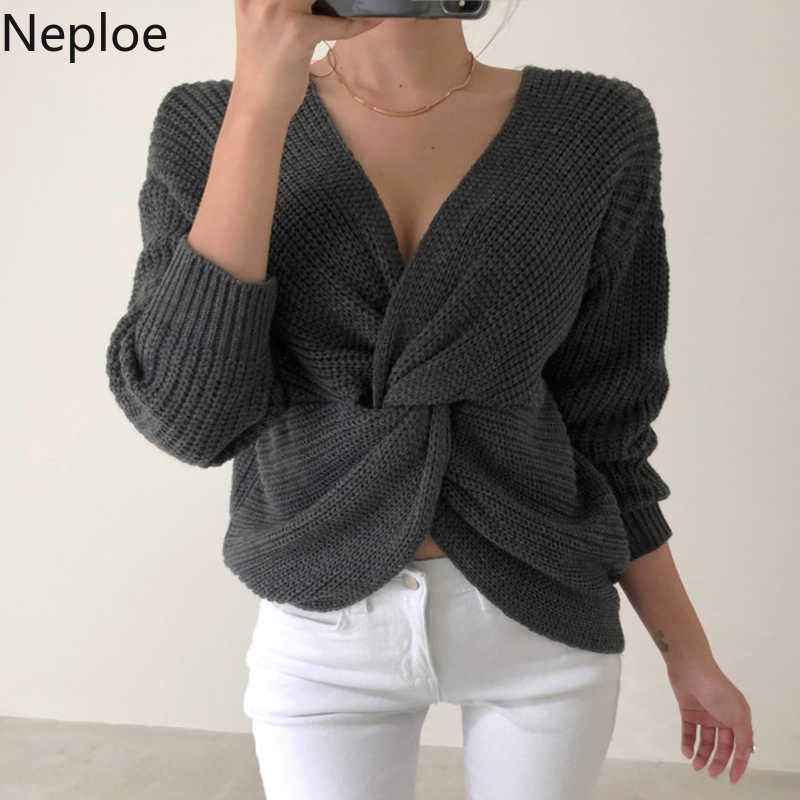 Neploe V-Neck Sweaters Jumpers Pullovers Knitted Long-Sleeve Korean Women New 54215 Tops