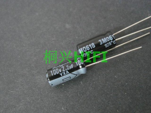 100PCS החדש RUBYCON YXA 100v2. 2uf 5X11MM 105 מעלות 2.2UF 100V אלומיניום אלקטרוליטי קבלים yxa 2.2 UF/100 V