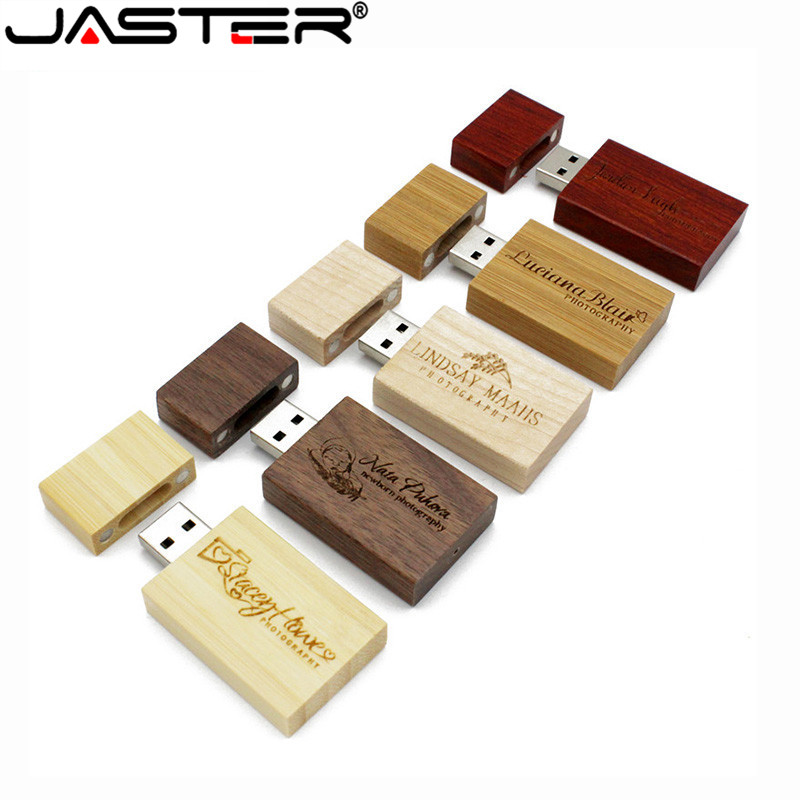 JASTER (1 Pcs Free LOGO) Wooden Block USB Flash Drive Red Wood Pendrive 4GB 8GB 16GB 32GB 64GB Memory Stick Wedding Gift