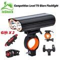 Joshock USB велосипедный светильник 2 XM-L T6 светодиодный 24000лм головной светильник 2 батареи T6 светодиодный s велосипедная лампа фонарь вспышка св...