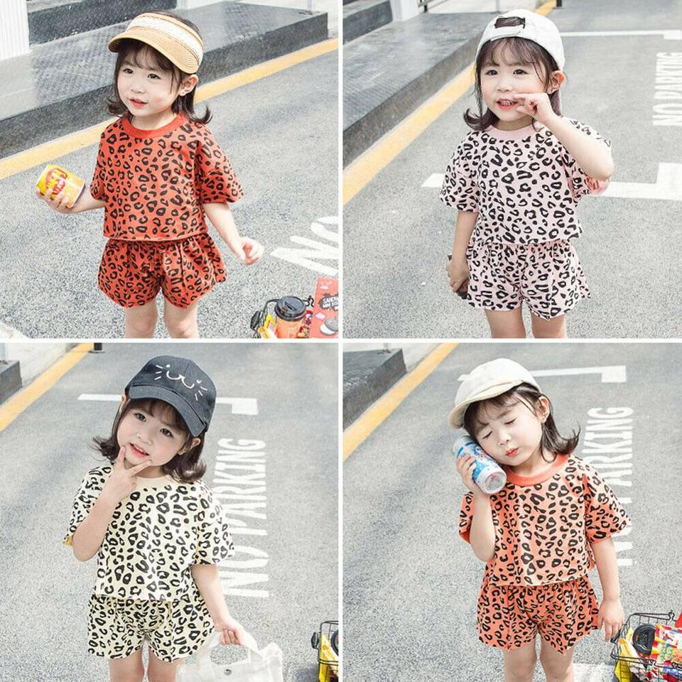 Aliven Baby Girl Jean Shirt Leopard Print Short Skirt Headband Outfits Set Clothes