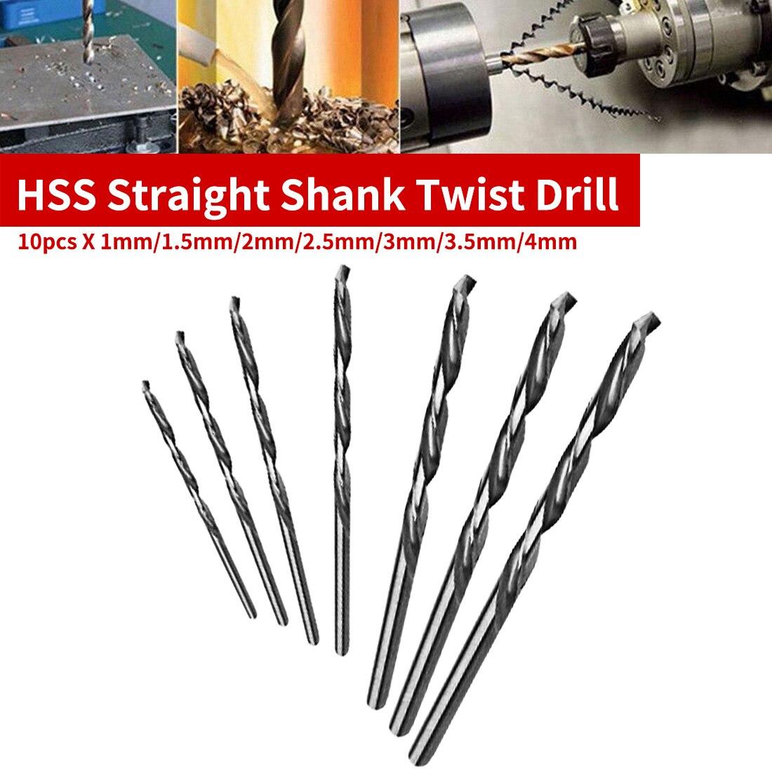 Straight Shank 10pcs HSS Mini Drill Twist Drill Bits Set For PCB/Thin Aluminum/Iron Sheet 1mm/1.5mm/2mm/2.5mm/3mm/3.5mm/4mm