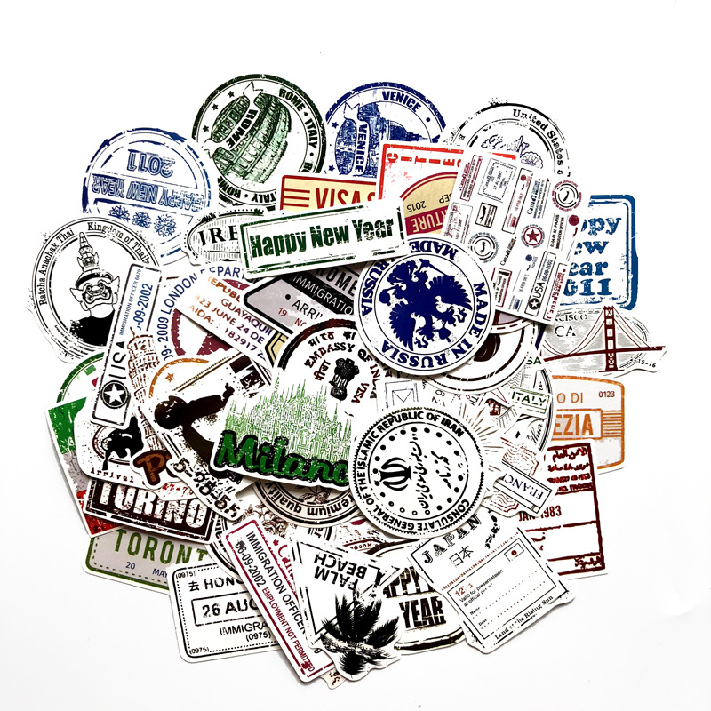60 Pcs Around The World Sticker  Travel Stickers For Luggage Guitar Laptop Phone Skateboard Bike Motorcycle Doodle Stickers