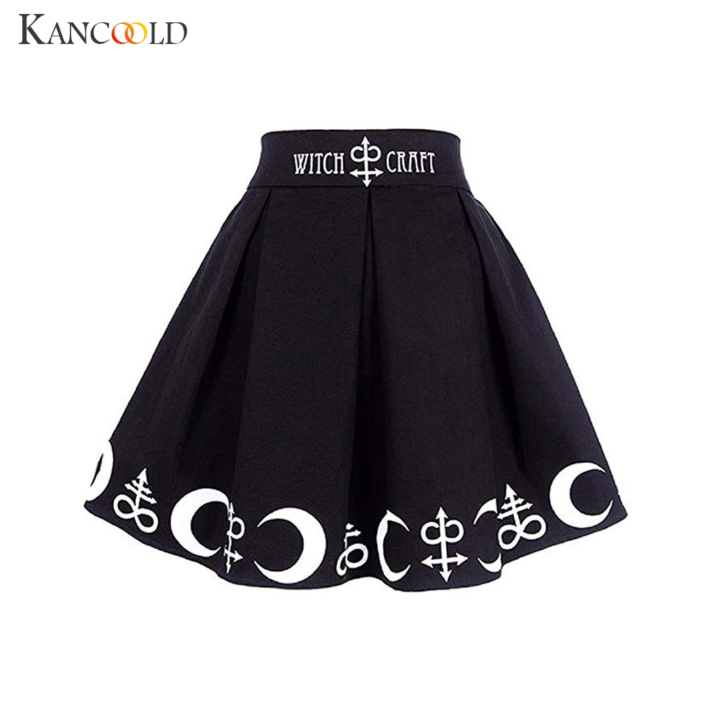 KANCOOLD Women Gothic Punk Witchcraft Magic Spell Symbols Pleated Mini Skirt Moon Above Knee Mini Empire Womens New Arrival 2019