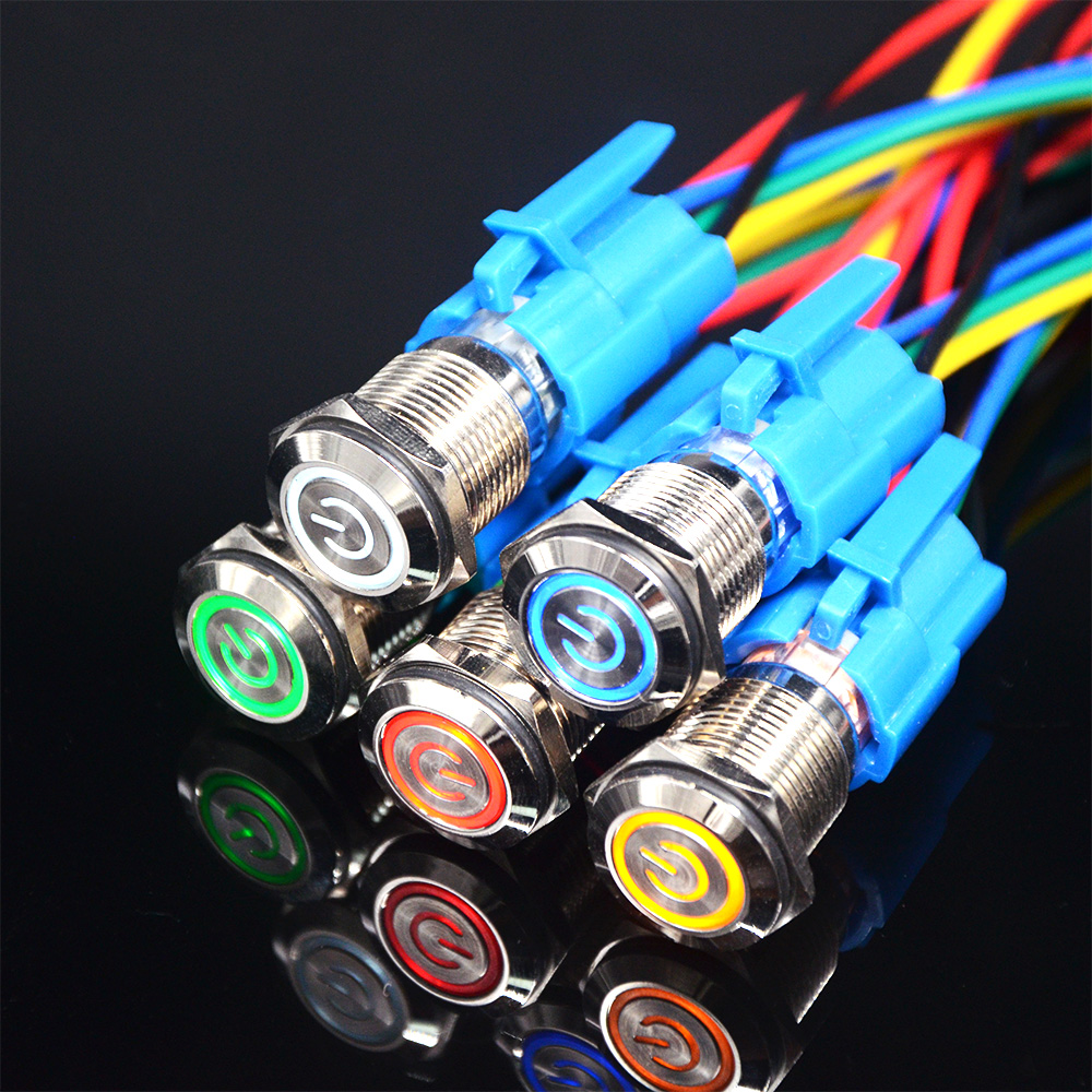 16mm Self-Locking Waterproof Metal Push Button Switch With LED light 3~6V 12~24V 110V 220V RED BLUE GREEN YELLOW WHITE