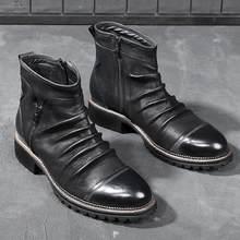 Homens botas de tornozelo flods plataforma zíper ao ar livre outono moda masculina botas de couro do plutônio dedo do pé redondo vintage tamanho grande confortável botas