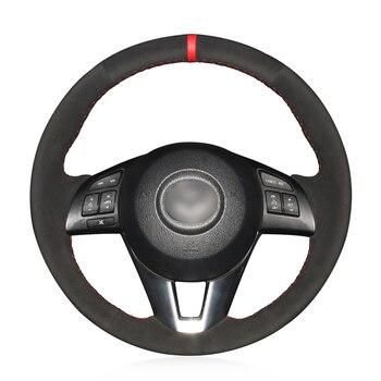 Hand-stitched Black Suede Anti-slip Soft Car Steering Wheel Cover for Mazda 3 Axela Mazda 6 Atenza Mazda 2 CX-3 CX