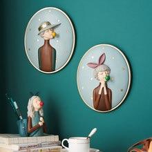 Ładna dziewczyna ścienne ozdobny obraz 3d postać z żywicy Model do kreatywnej dekoracji ozdobny obraz nowoczesne dekoracje do domu akcesoria prezenty