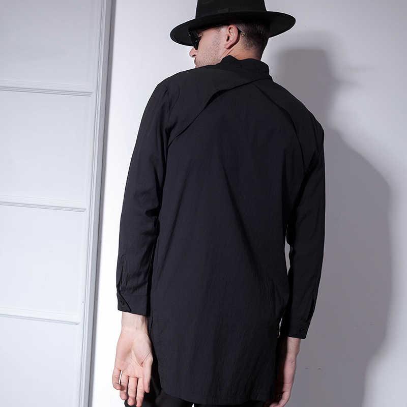 긴팔 셔츠 남성 슬림 세련된 한국 트렌드 셔츠 남성 패션 그물 붉은 스탠드 칼라 긴 크기의 트렌드를 착용하십시오