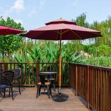 Water Sand Filled Patio Umbrella Base 15.0'' Round Plastic Outdoor Market Umbrella Stand for Garden Lawn 35-38mm Rod DFD