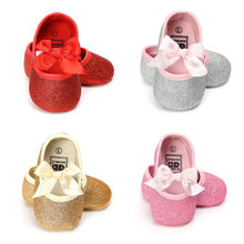 2019 Baby Shoes Newborn Baby Girls Girls PU Leather Bow Moccasins Sequin Anti-slip Soft Sole First Walkers Baby Shoes 0-18M(China)