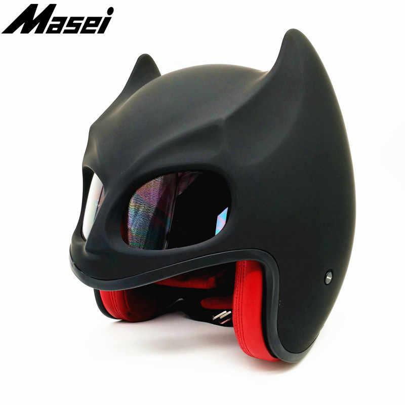 Masei Batman Helmet Motorcycle Vintage Retro Helmet Dark Knight Helmet Open Face Helmet Casque Motocross Off Road Touring Helmet
