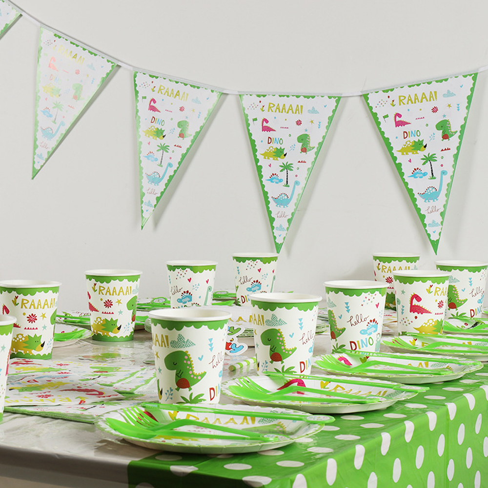 Kids Dinosaur Theme Party Supplies For Children Birthday Party Toys Paper Disposable Tableware Set Plate Cup Straw Flag Cover