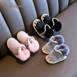 2019 شتاء جديد للأطفال أحذية نصف رقبة من المطاط الفتيات أحذية الثلوج الفتيان أحذية قطنية زائد thicker المخملية حذاء طفل الأحذية الوردي رمادي أسود