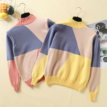 Multicolor Autumn Winter Women Sweater Turtleneck Knitted Jumper Top Loose Casual Warm Femme Sweater Fashion Pullover Pink Tops goocheer autumn winter new women fluffy crop turtleneck pullover knitted plush warm zip up loose sweater jumper knitwear top