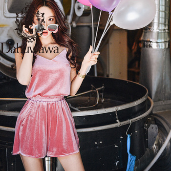 Dabuwawa Vintage Pink Elastic Waist Solid Velvet Shorts Women Casual Solid Loose Shorts Female with Pocket DT1BSP003