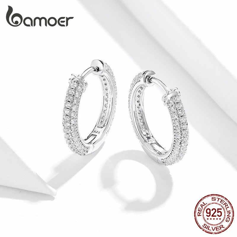 Bamoer หู 925 เงินสเตอร์ลิงหรูหรา Hoop ต่างหูสำหรับเครื่องประดับหมั้นผู้หญิงเครื่องประดับของขวัญอุปกรณ์เสริม 2019 BSE300