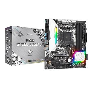 ASRock Super Alloy B450M Steel Legend Desktop Motherboard Socket AM4 DDR4 64G SATA3, 1 Ultra M.2 USB 3.1 VGA HDMI Micro-ATX