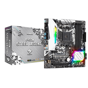 ASRock Super Alloy B450M Steel Legend Desktop Motherboard Socket AM4 DDR4 SATA3, Ultra M.2 USB 3.1 VGA HDMI Micro-ATX