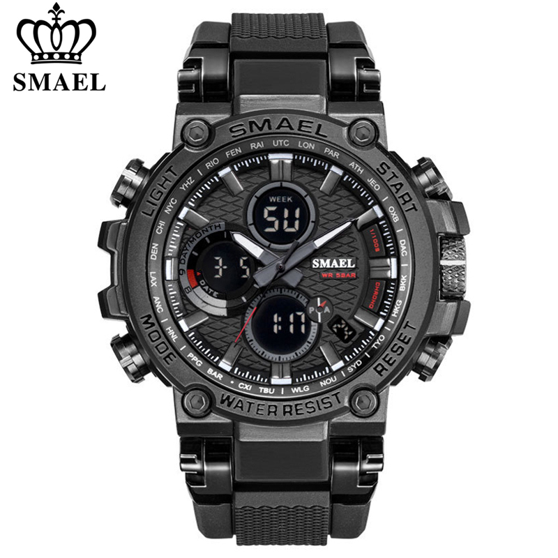SMAEL Men Sport Watches Digital Double Time Chronograph Watch Mens LED Chronometre Week Display Wristwatches montre homme Hour