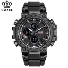 SMAEL – montre-bracelet de Sport numérique pour homme, avec Double chronomètre, affichage de la semaine