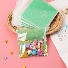 100 Pçs/lote Skyblue Rosa Ponto Verde Auto-Adesivo Plástico Sacos de Embalagem Saco de Biscoito Doce Biscoito Easter Fontes Do Partido de Casamento