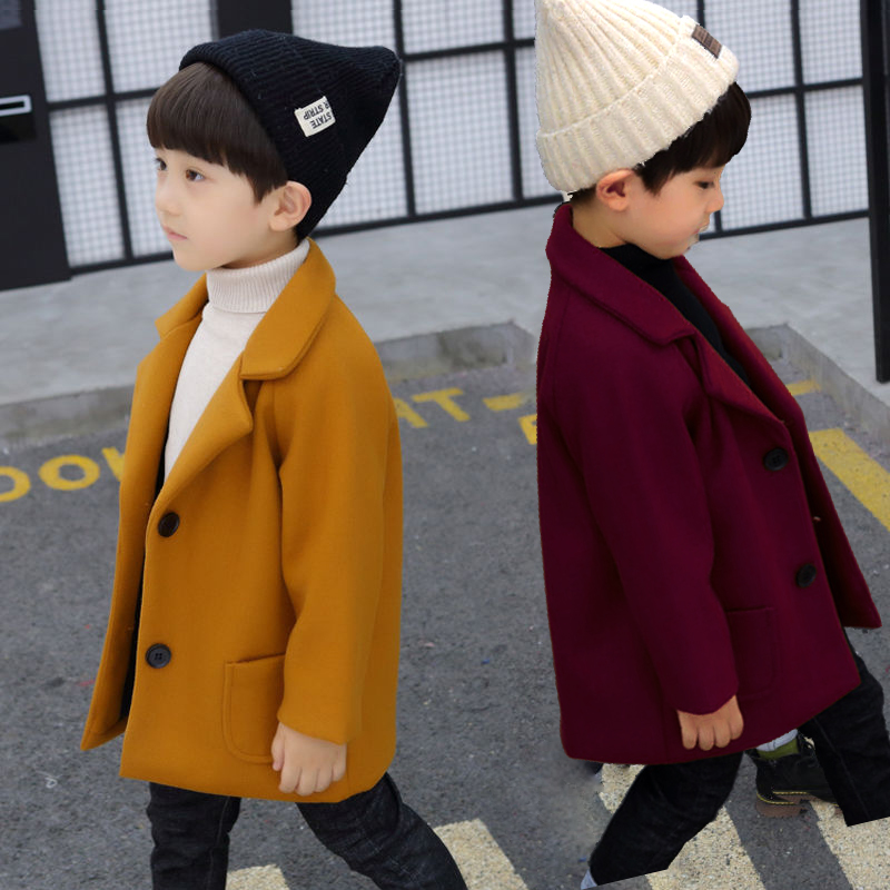 Ins Hot Baby Boys Woolen Coat 1-5 Years Old  Children's Clothing, Boy's Woolen Coat Autumn And Winter Hickening Trench Fashion
