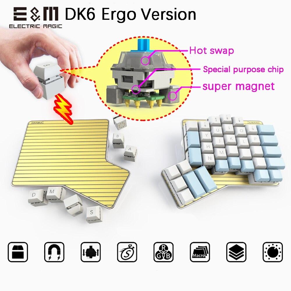 DK6 Ergo популярная подвижная Магнитная макро клавиша, программируемая механическая клавиатура с RGB подсветкой, Вишневый MX Kaih Box Switch Интегральные схемы      АлиЭкспресс