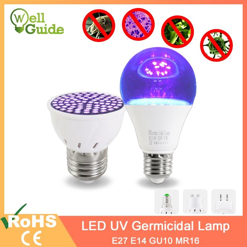 UV Germicidal Light LED Bulb GU10 E27 MR16 E14 UV Disinfection Lamp LED Sterilizer Lamp 2835 SMD 220V 240V Ultraviolet Led Lamp
