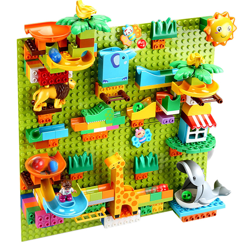 Duploed Large Particle Baseplate Wall Marble Race Run Track Duploe Animals DIY Brick Toys For Children