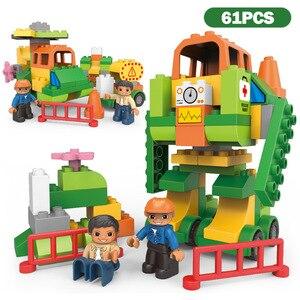 Image 5 - Big Size Stad Bouw Diy Graafmachine Voertuigen Bulldoze Robot Cijfers Bouwstenen Compatibel Duploed Baksteen Kinderen Speelgoed Gift