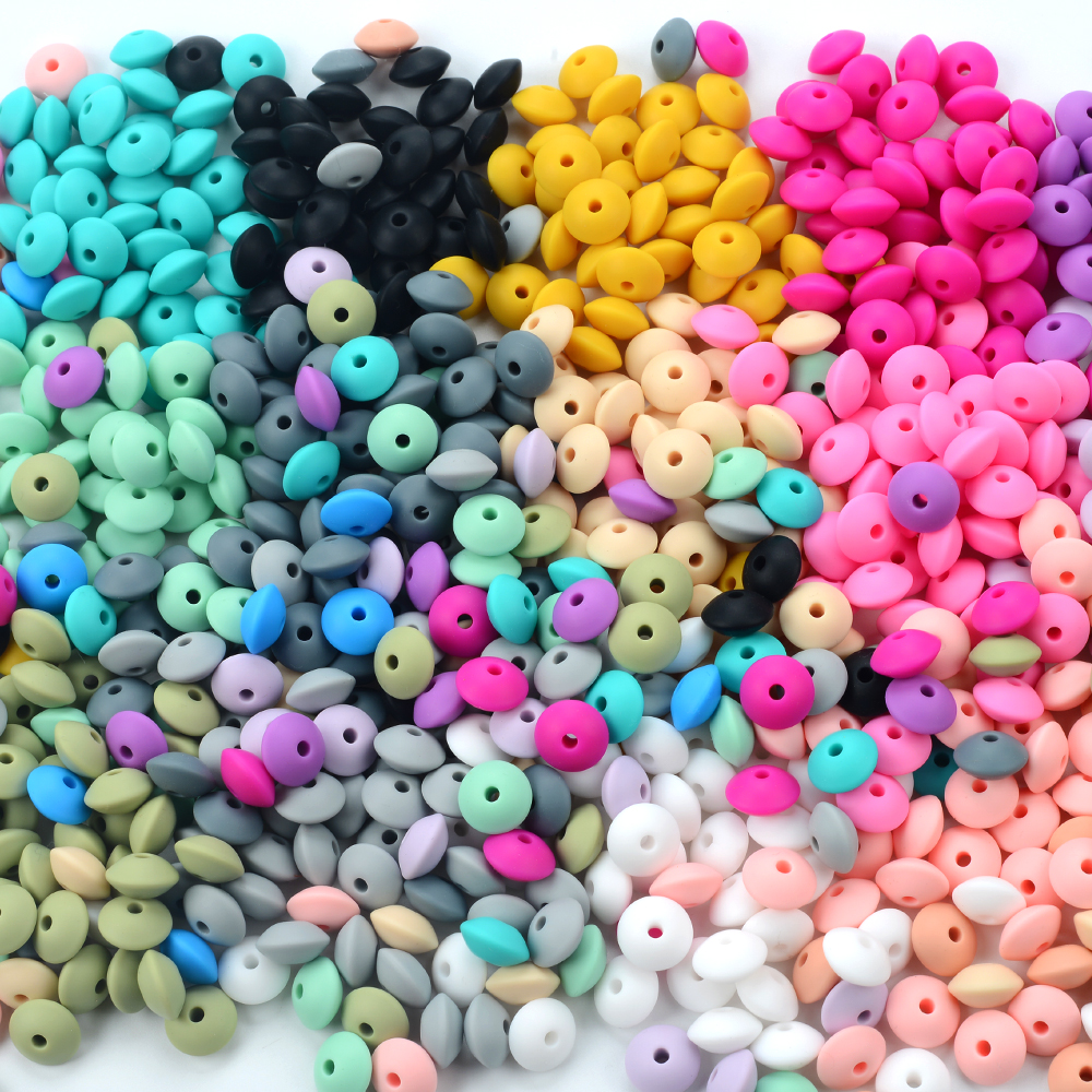 LOFCA 50pcs 12mm Silicone Lentil Beads Baby Teething Beads BPA-Free Food Grade Making Baby Oral Care Pacifier Chain Accessorise(China)