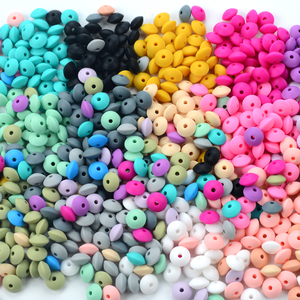 LOFCA 50pcs 12mm Silicone Lentil Beads Baby Teething Beads BPA-Free Food Grade Making Baby Oral Care Pacifier Chain Accessorise