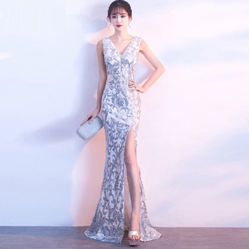 Evening Gown Sequin Elegant Robe De Soiree 2019 Sexy Double V-neck Evening Dresses for Women Split Sleeveless Formal Dress C182