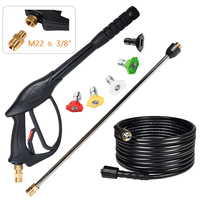 High Pressure Car Washer Gun Kit 3700 PSI Water Gun Jet 1/4 25ft Hose 22 Extension Wand 5 Spray Nozzle Tips For Car Washer