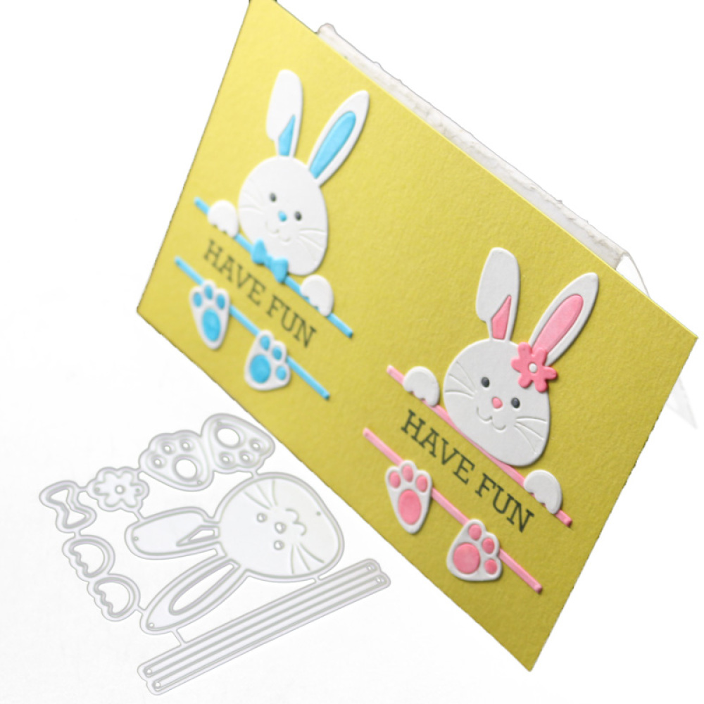 Metal Cutting Dies Cut Die Mold Rabbit Cute Frame Scrapbook Stencil DIY Craft