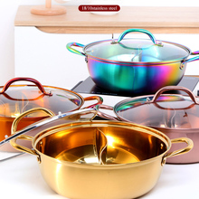 Hot-Pot Cookware Copper with Glass-Lid Twin-Divided Table Soup Stainless-Steel Kitchen