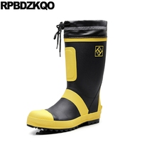 tall men boots warm safety shoes with steel toe cap autumn yellow mid calf lace up plus size winter fur durable waterproof flat