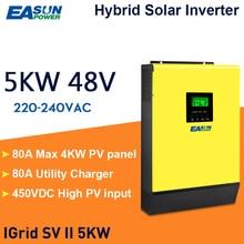 EASUN POWER 5000w Hybrid Solar power inverter 48v 230vac  Grid tied + off grid 80A MPPT solar charger 450vdc PV input
