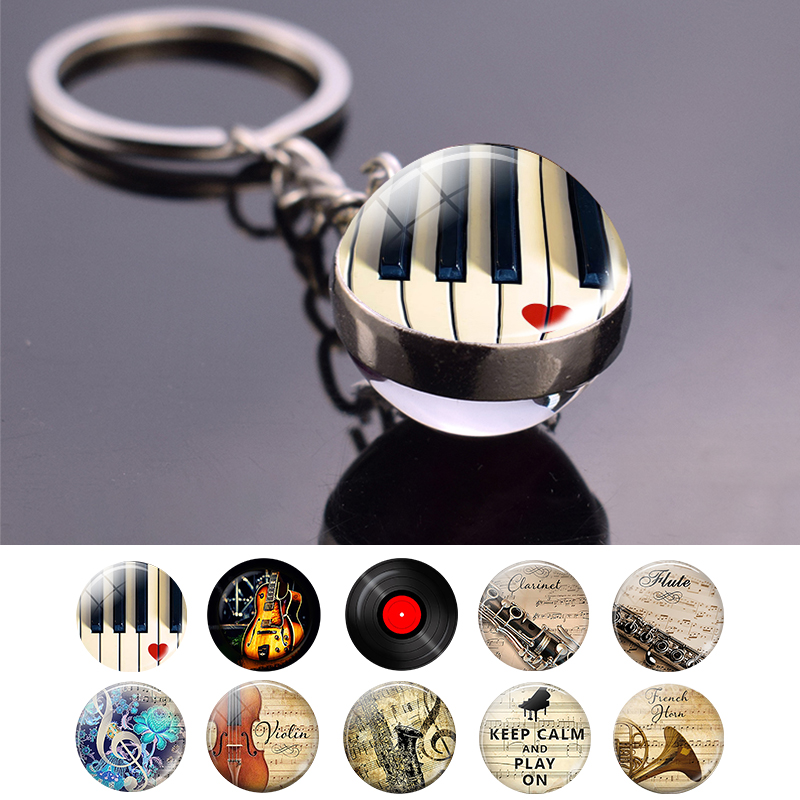 Piano Glass Pendant, Music Metal Car Keychain Keyring, Musical Instruments Jewelry, Guitar Clarinet Flute Violin Photo Key Chain