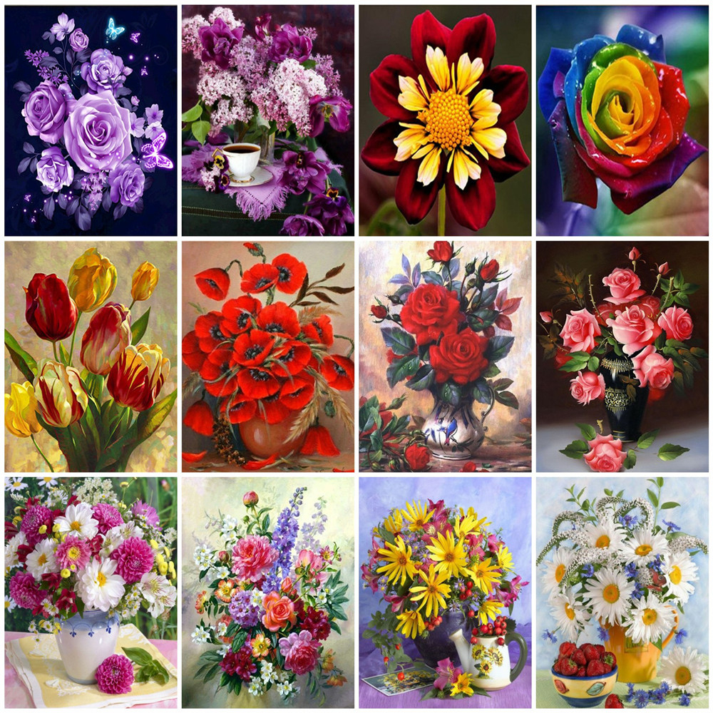HUACAN Picture By Numbers Kits HandPainted Painting Flowers Art Gift DIY Dawing On Canvas Home Decoration