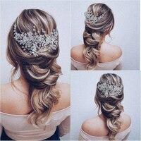 Свадебные повязки на голову для невесты, аксессуары для волос, жемчужные стразы, свадебная тиара с цветами, свадебная повязка на голову, Жен...