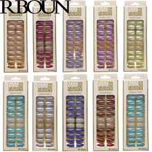 Sztuczne paznokcie z klejem kolor metalu sztuczne tipsy prasa na trumnie Stick wzory wyczyść zestaw Full Cover sztuczny krótki pocałunek