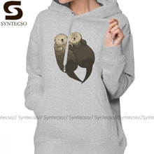 Otter Hoodie Significant Otters Otters Holding Hands Hoodies Kawaii Streetwear Hoodies Women Graphic White Pullover Hoodie halloween plus size drop shoulder graphic pullover hoodie